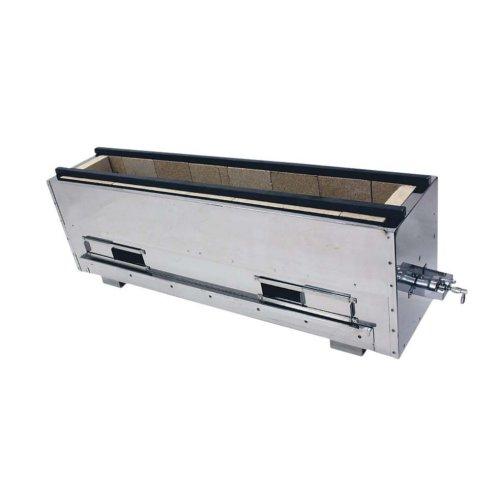 送料無料 耐火レンガ木炭コンロ (幅71.5cm 奥行22.5cm) 組立式 耐火レンガ木炭コンロ バーナー付 型式NST-6022B LPガス (6-0684-0201)