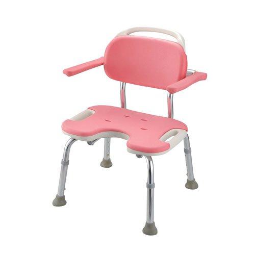 送料無料! 入浴・お風呂用品 介護用 (U型肘掛付) やわらかシャワーチェア ピンク U型肘掛付 ワイド (7-2385-0202)