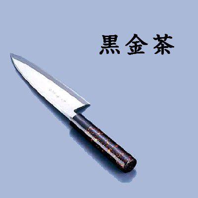 送料無料 包丁・ナイフ 歌舞伎調和包丁 忠舟 出刃 19.5cm 黒金茶(6-0275-1010)