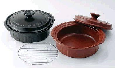 両手鍋 1台4役!焼く・煮る・炊く・蒸すの調理が出来る (IH対応) ニュートーセラム 両手鍋浅型25cm(金網付)TSR-191AM 茶(S)(6-0072-0402)