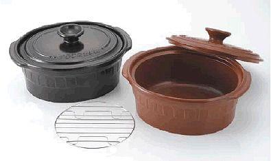 両手鍋 1台4役!焼く・煮る・炊く・蒸すの調理が出来る (IH対応) ニュートーセラム 両手鍋小判型24cm(金網付)TSR-190OPM 茶(S)(7-0072-0502)