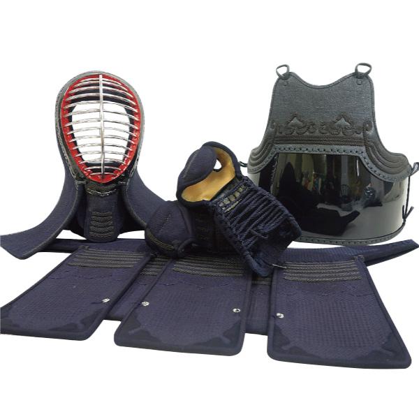 剣道 防具セット 2分手刺 紺革仕立 鬼雲飾り 飾り糸茶