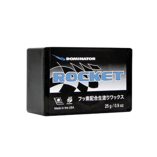 DOMINATOR(ドミネーター)OVERLAYS(START WAX)ROCKET(ロケット)生塗りフッ素ワックス 25g+合成コルクスノーボード・スキー兼用