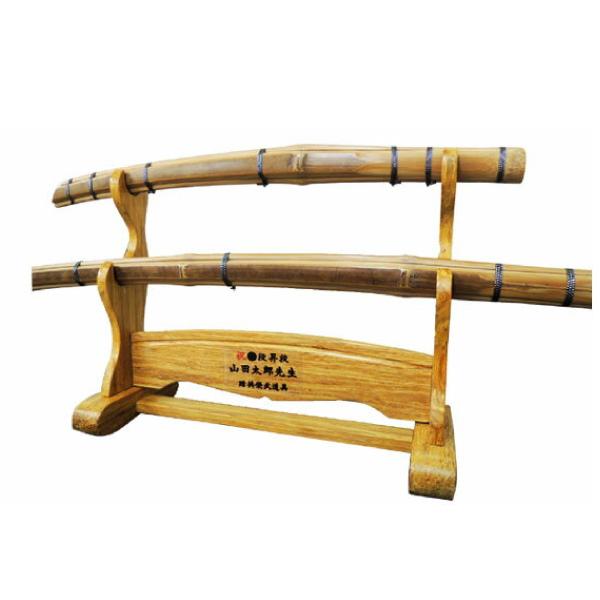剣道 刀掛け台 刀型竹刀大小2本セット 箱付き(組み立て式)