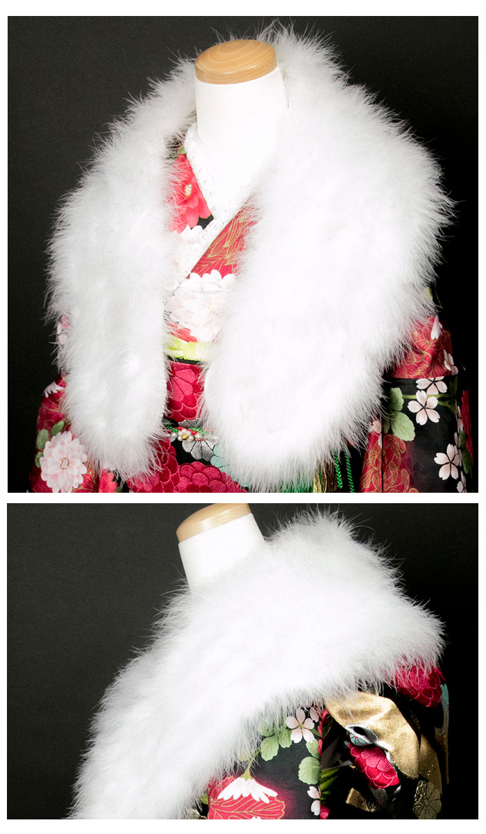 The soft and fluffy shawl white marabou (feather) party rial fur fur shawl which is good to the long-sleeved kimono figure of the feather shawl coming-of-age ceremony