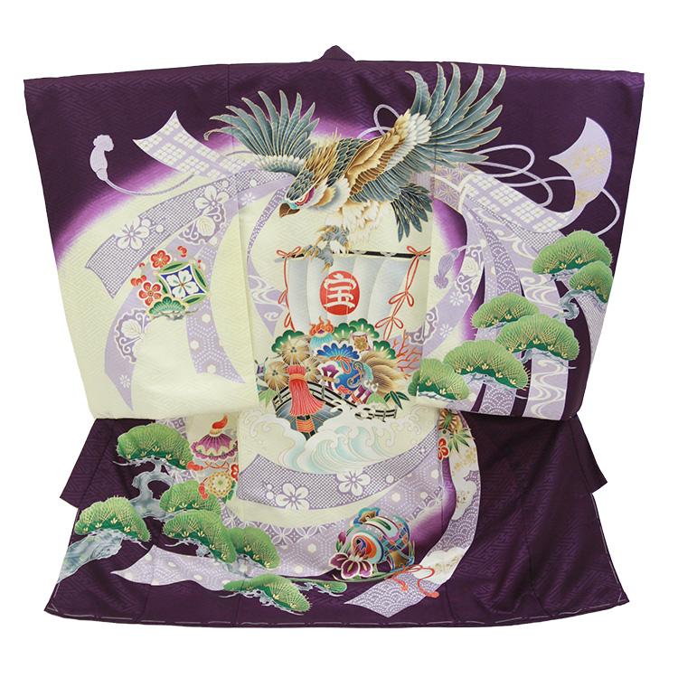 お宮参り 男の子「鷹に宝船」紫色