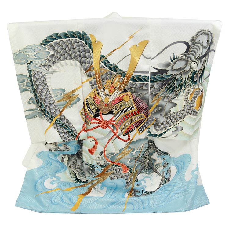 お宮参り 男の子「兜に龍」白色
