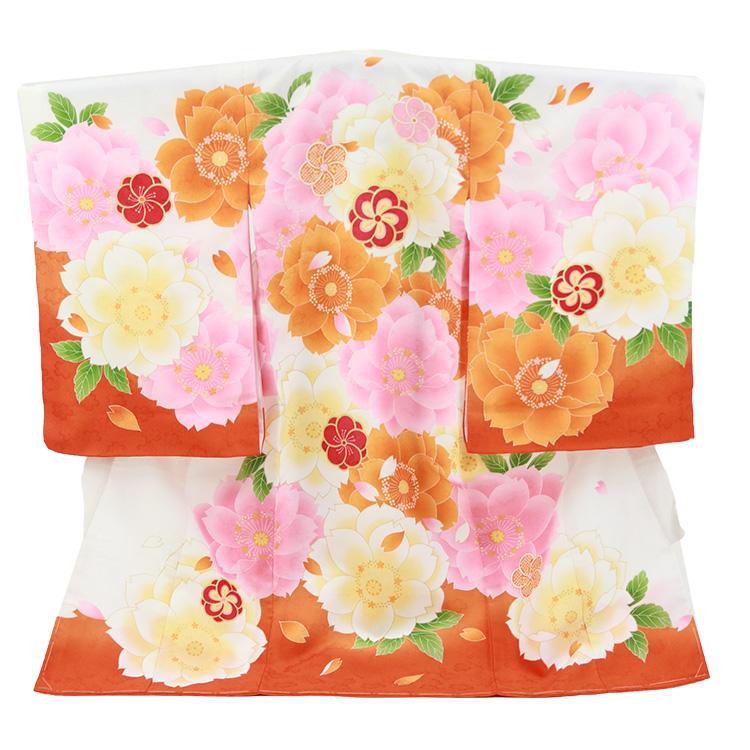 お宮参り 女の子 「大桜柄」橙色