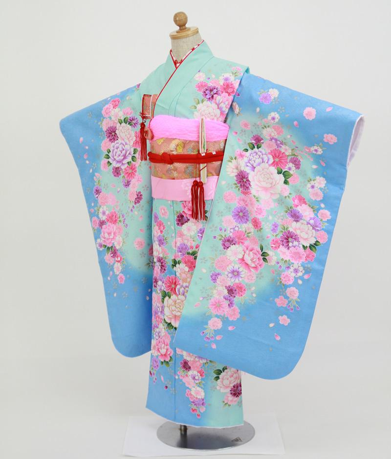 七歳用七五三レンタル 水色地に牡丹と八重桜【帯】桃色