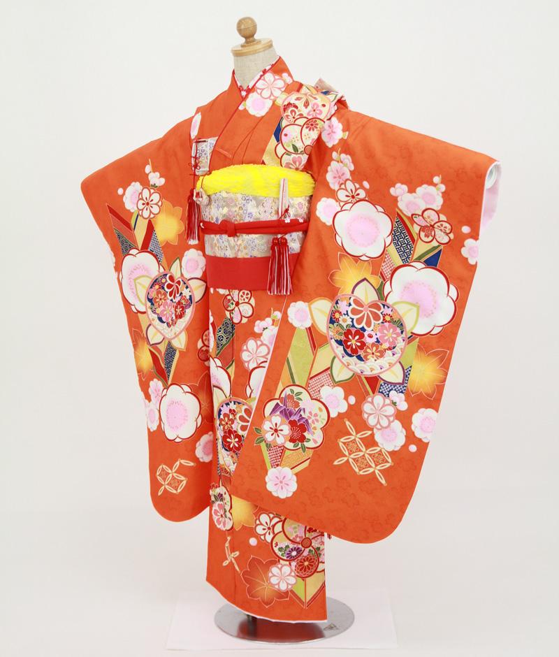 七歳用七五三レンタル オレンジ地に変わり梅 鶴と矢絣【帯】白色