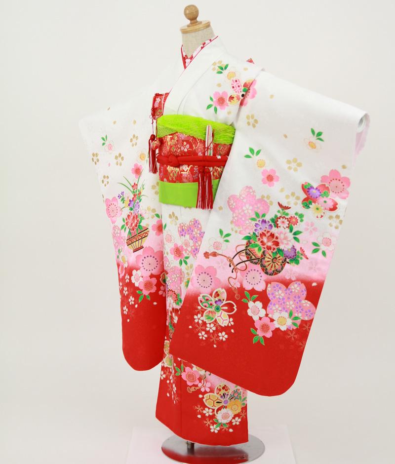 七歳用七五三レンタル 白地に花車 牡丹と桜【帯】赤色