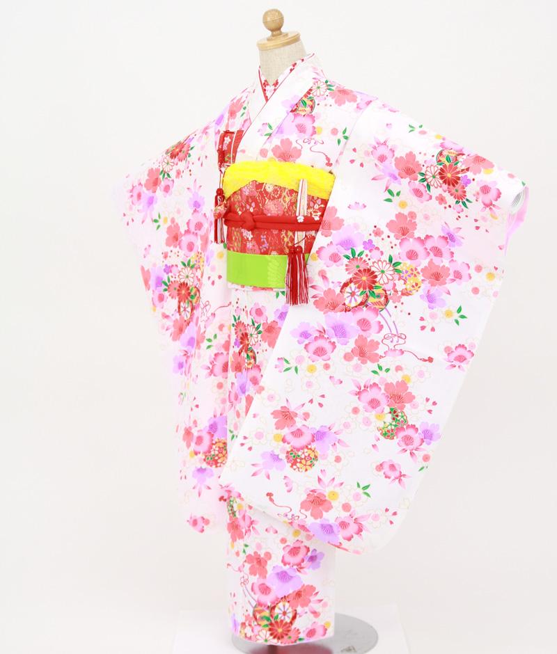 七歳用七五三レンタル 白地に花車と桜【帯】赤色