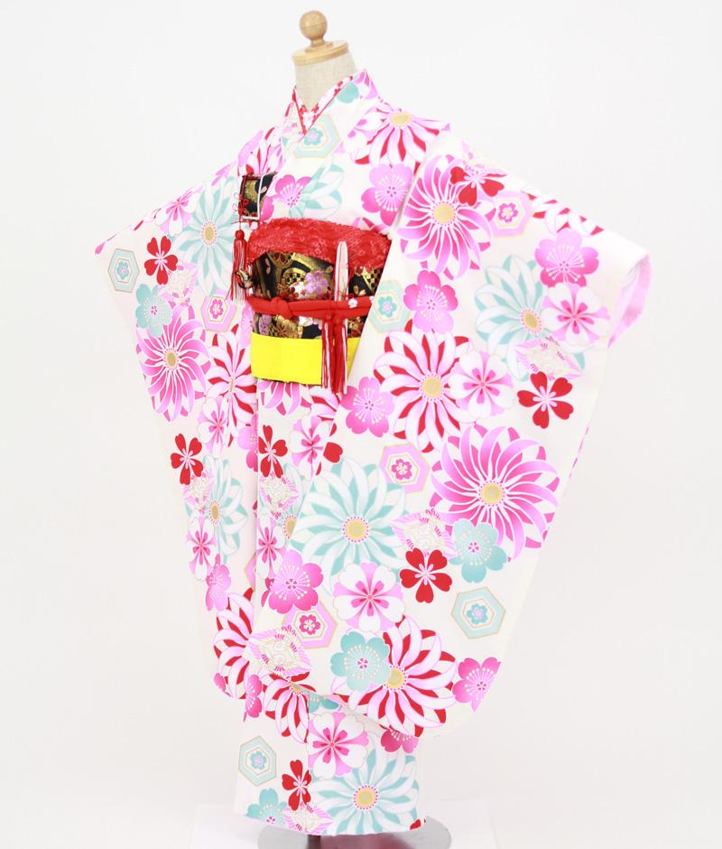 七歳用七五三レンタル 白地に菊と桜 向かい鶴菱【帯】黒色