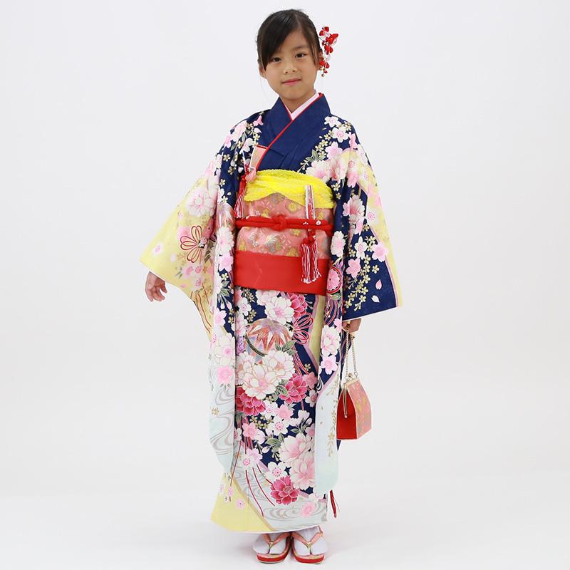 【レンタル】七歳用七五三レンタル・四つ身着物絵羽柄21点セット 紺地に桜と芍薬 ピンク帯・箱せこセット