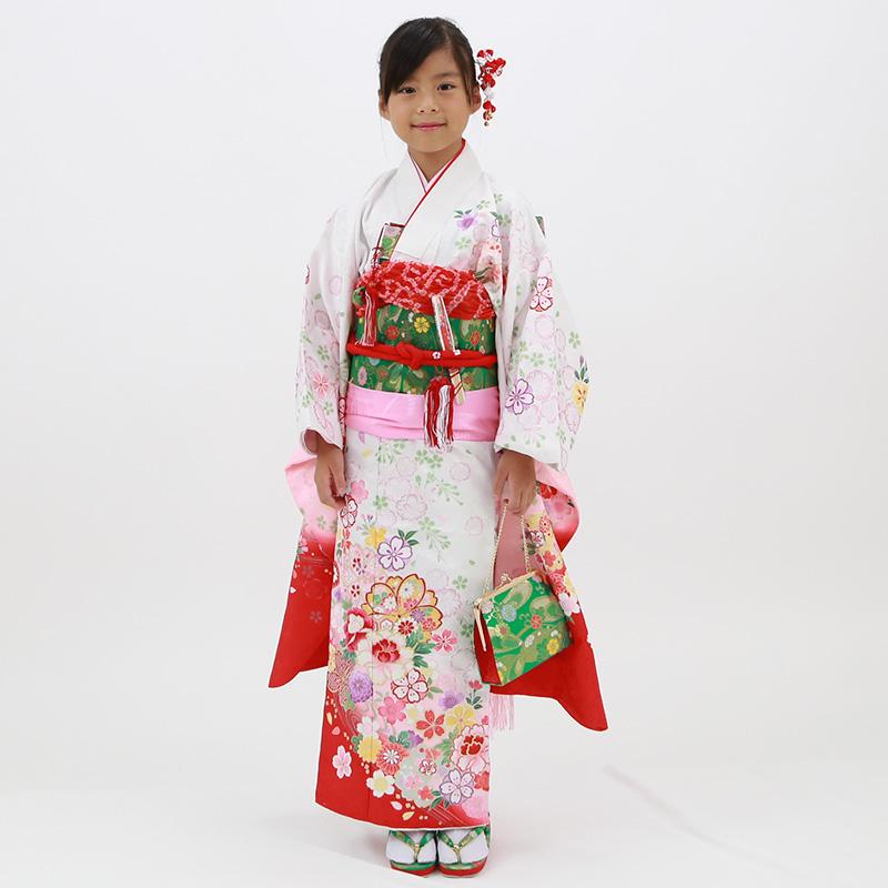 【レンタル】七歳用七五三レンタル・四つ身着物絵羽柄21点セット 白地にぼかし桜と牡丹 緑帯・箱せこセット