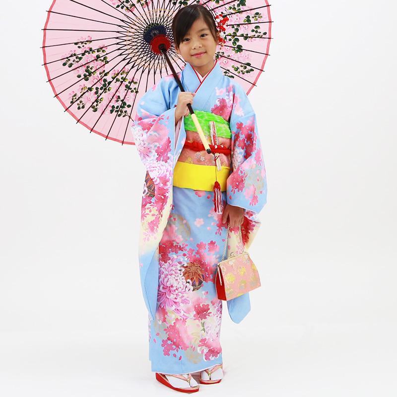 【レンタル】七歳用七五三レンタル・四つ身着物絵羽柄21点セット 水色地に鞠と菊 ピンク帯・箱せこセット