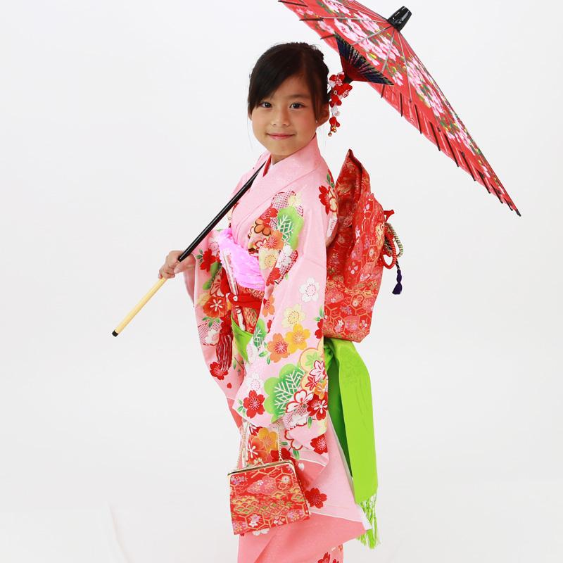 【レンタル】七歳用七五三レンタル・四つ身着物絵羽柄21点セット ピンク地に梅と笹 赤帯・箱せこセット