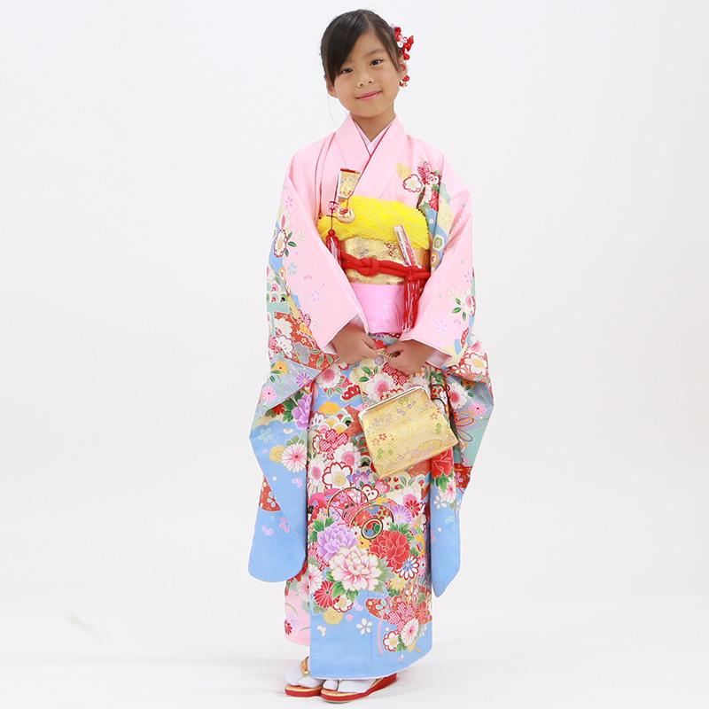 【レンタル】七歳用七五三レンタル・四つ身着物絵羽柄21点セット ピンク地に雲取りと鼓 金帯・箱せこセット
