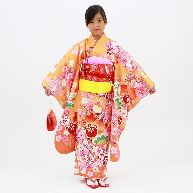 【レンタル】七歳用七五三レンタル・四つ身着物絵羽柄21点セット 橙地に雲取りと梅 赤帯・箱せこセット