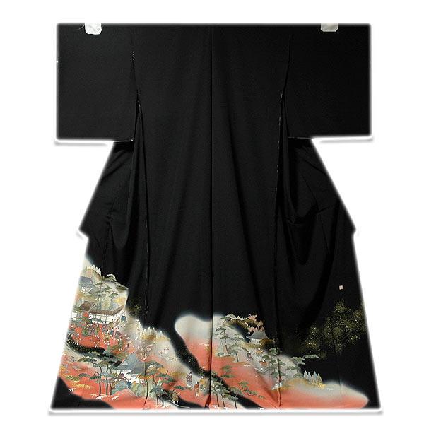 【手縫い仕立て付き】 時代絵巻 手描き 落款 黒留袖