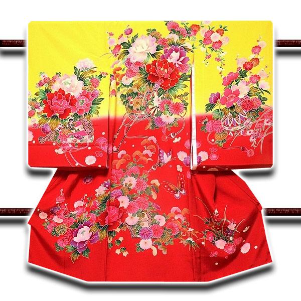 【最高級】「染め分け 金駒刺繍」 花柄 女児 七五三 お宮参り 正絹 祝着物