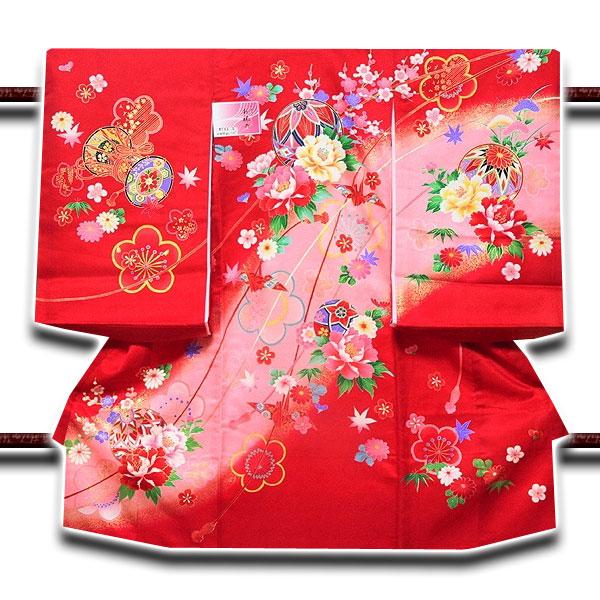 「染め分けボカシ」 金彩加工 マリに花柄 折鶴 女児 七五三 お宮参り 正絹 祝着物