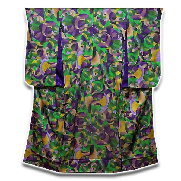 「釜座 KAMANZA」 女の子 ジュニア 十三参り モダンでオシャレな 染め分け 総柄 長襦袢付き 正絹 ジュニア振袖 着物