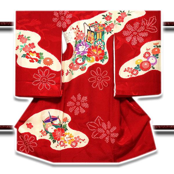 正絹 お宮参り 女児 祝着物 絞り染め 花車 【最高級】「染め分けボカシ」 七五三