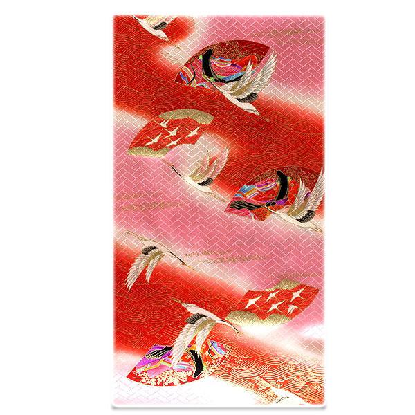 十二単の姫 飛び鶴 豪華な金彩加工 染め分けボカシ 【女児三才-七才-四ッ身】 正絹 七五三 反物 高級 着物