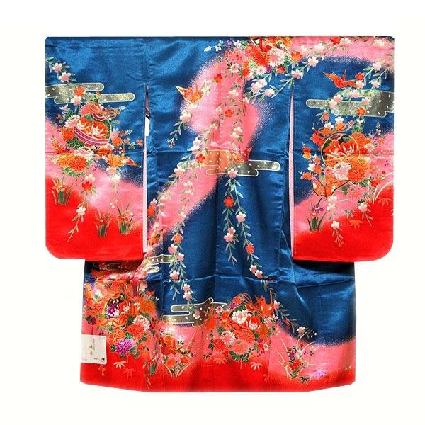 「日本製」 染め分けボカシ 豪華な金彩加工 花柄 女児三才 三ッ身 七五三 長襦袢付き 着物