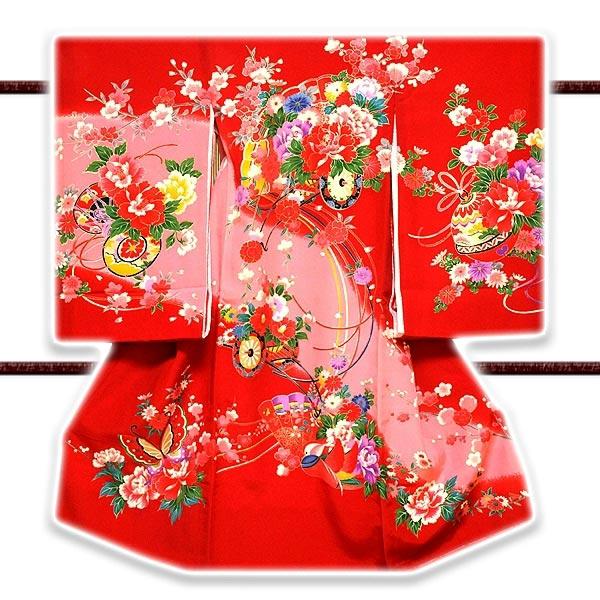 「染め分けボカシ-日本製」 花車 金彩加工 女児 産着 掛け着 七五三 お宮参り 正絹 祝着物