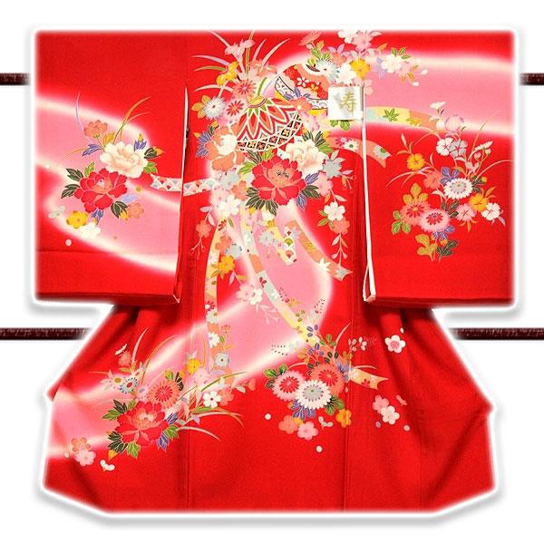 色とりどりの花模様 染め分けボカシ マリ柄 女児 産着 掛け着 七五三 お宮参り 正絹 祝着物