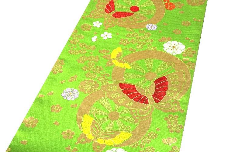 【お仕立て付き 帯芯代込み】【訳あり】「七五三-十三参り-祝帯」 日本製 桐生織 ジュニア着物などに 7歳~ 長尺 華すがた 若ごろも キッズ ジュニア 女児 子供用 正絹 袋帯