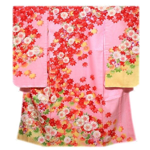 「日本製-式部浪漫」 細やかな刺繍 ボカシ染め 紅葉 薄ピンク色系 薄黄色系 女児七才 四ッ身 七五三 正絹 着物