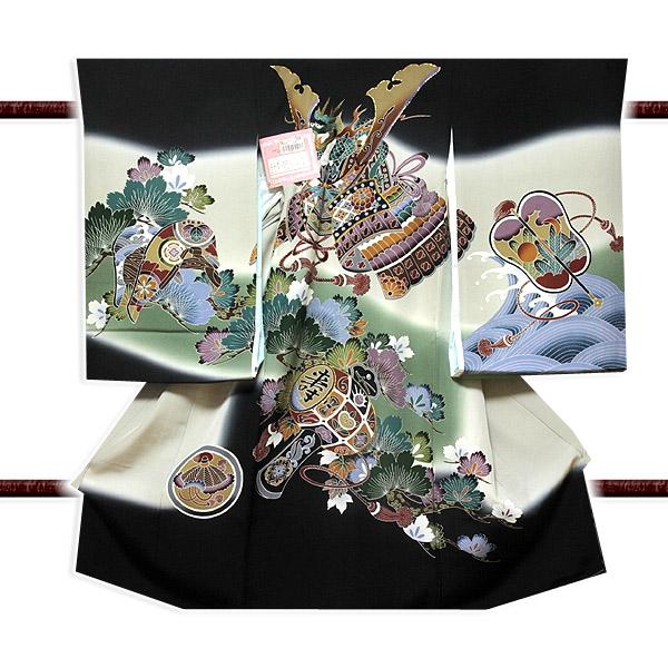 【最高級】「龍にかぶと柄」 染め分けボカシ 刺繍入り 男児 七五三 正絹 祝着物
