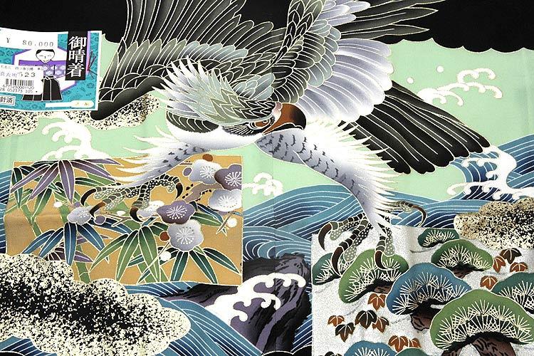 「正絹 鷹柄」 日本製 染め分け 金彩加工 手描き 男児 5歳 七五三 羽織単品