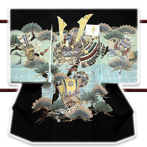 「ブック付き-龍にかぶと柄」 日本製 染め分けボカシ 宝尽くし 吉祥文様 男児 七五三 正絹 祝着物