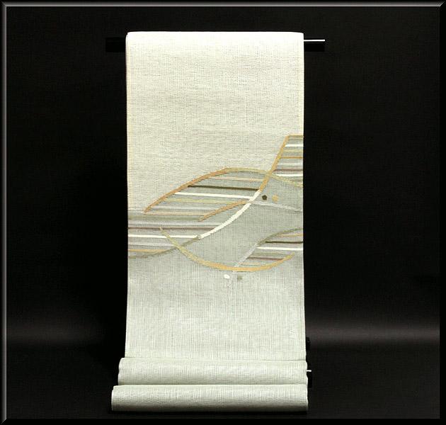モダンでお洒落な 素朴な風合い 太鼓柄 正絹 夏物 紗 袋帯