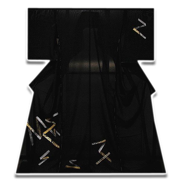 「日本の絹 五泉生地」 金彩銀彩加工 粋な 黒地 夏物 絽 正絹 訪問着
