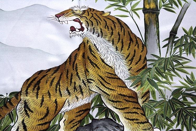 男物 「竹に虎柄」 豪華な金彩加工 絵羽 正絹 長襦袢