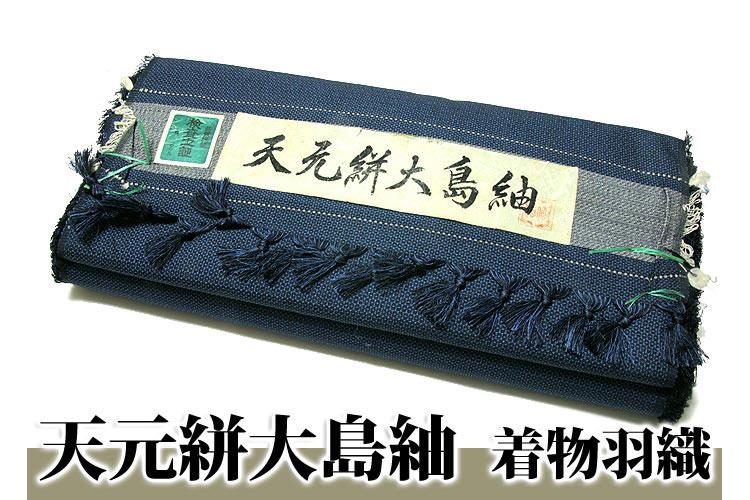 【訳あり】「天元絣大島紬」 男物 藍色 着物羽織 正絹 アンサンブル