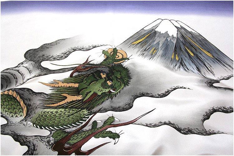 【正絹-フリーサイズ】 男物 紺鼠 迫力ある龍柄 ボカシ 絵羽 羽織裏地 羽裏 肩裏 額裏