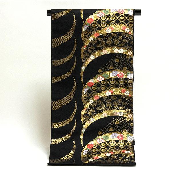 黒地 煌びやかで豪華な 花模様 地紋 九寸 名古屋帯