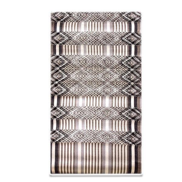 粋な縞柄 透け感あるオシャレな柄行き グレー色系 生成り 黒色 長尺 九寸 正絹 名古屋帯