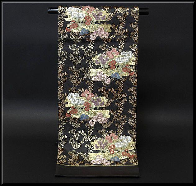 金糸織り 花模様 黒地 豪華 袋帯