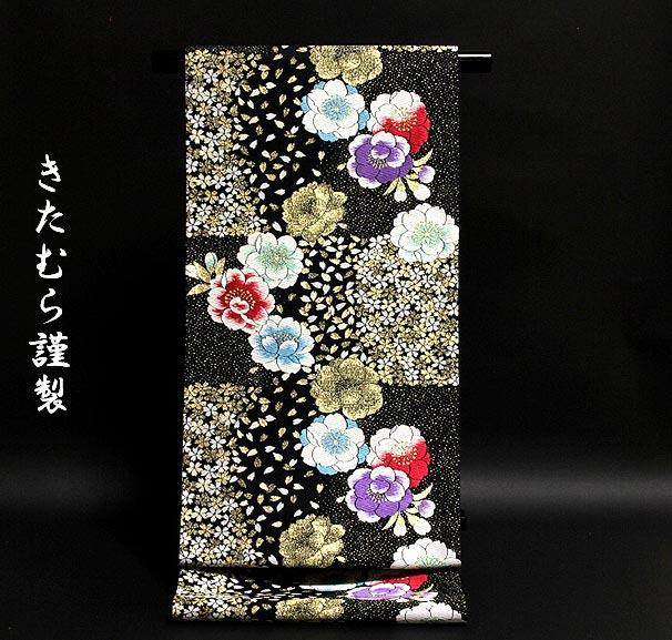 「きたむら謹製」 黒色 振袖に最適 桜の花弁 袋帯