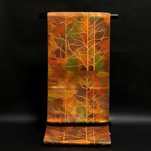 【お仕立て付き 帯芯代込み】【訳あり】 グラデーション 風景図 正絹 袋帯