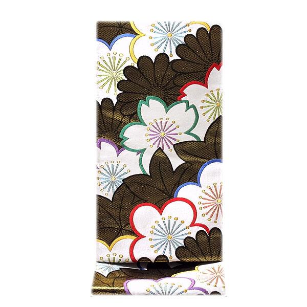 【お仕立て付き 帯芯代込み】【訳あり】「京都:細尾」 振袖に最適 黒地に金糸 正絹 袋帯