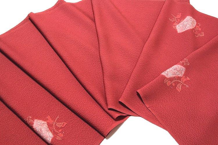 【訳あり】扇面に花柄 ちりめん生地 染め 正絹 羽尺 羽織 コート