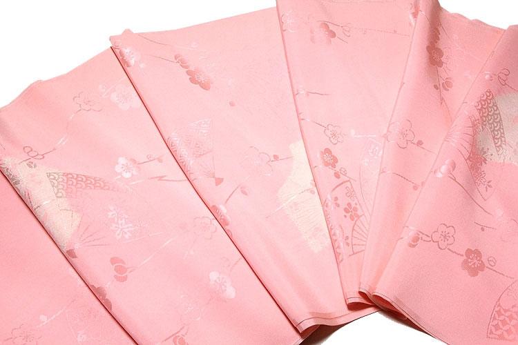 【訳あり】「贅沢な絞り入り」 別織 紋綸子絞り 扇子に梅柄 華やかな 正絹 長襦袢